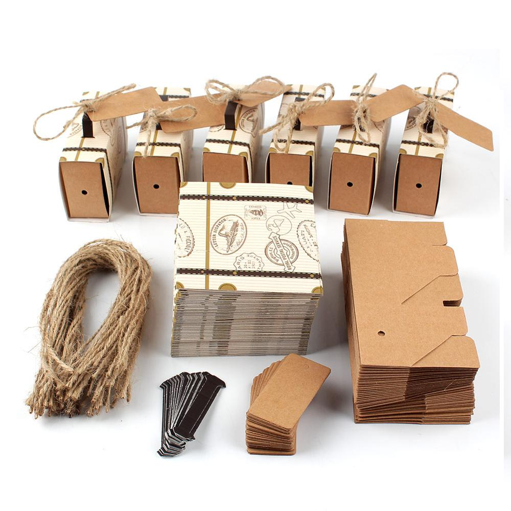 OurWarm 20pcs Suitcase Candy Box Wedding Favors Travel Paper Gift Boxes With Card & Burlap Birthday Event Party Supplier