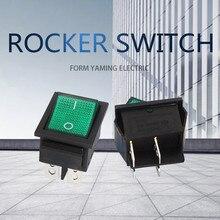 10 pçs/lote Rocker Switch KCD4-201 Verde Quatro Pé 16A 4P Quatro Posições de Pé 2 Com Lâmpada 250V 31x25mm
