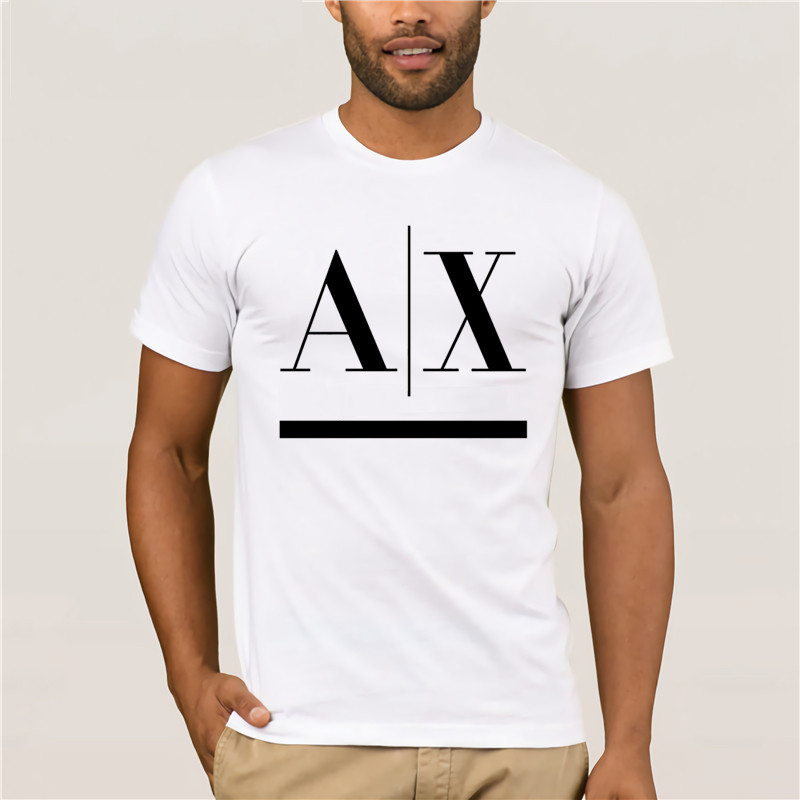 AX LOGO  Men White T-shirt 100% Cotton Graphic Tee Funny Free Shipping Unisex .Casual