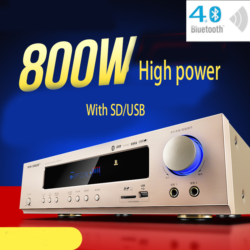 KYYSLB 800W 220V AK-558 Bluetooth Amplifier 5.1 Channel Home Theater Ktv High Power AV Digital Hifi Amplifier Subwoofer SD USB