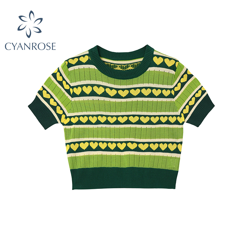 Vintage Women Crop Tops Green Knitted Summer Tops O Neck Short Sleeve Love Pattern Casual Female Slim Knit Top Cropped Tees
