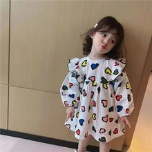 2020 cute baby girl dress cotton children clothes long sleeve girls rainbow dresses Spring heart printed princes party costumes(China)