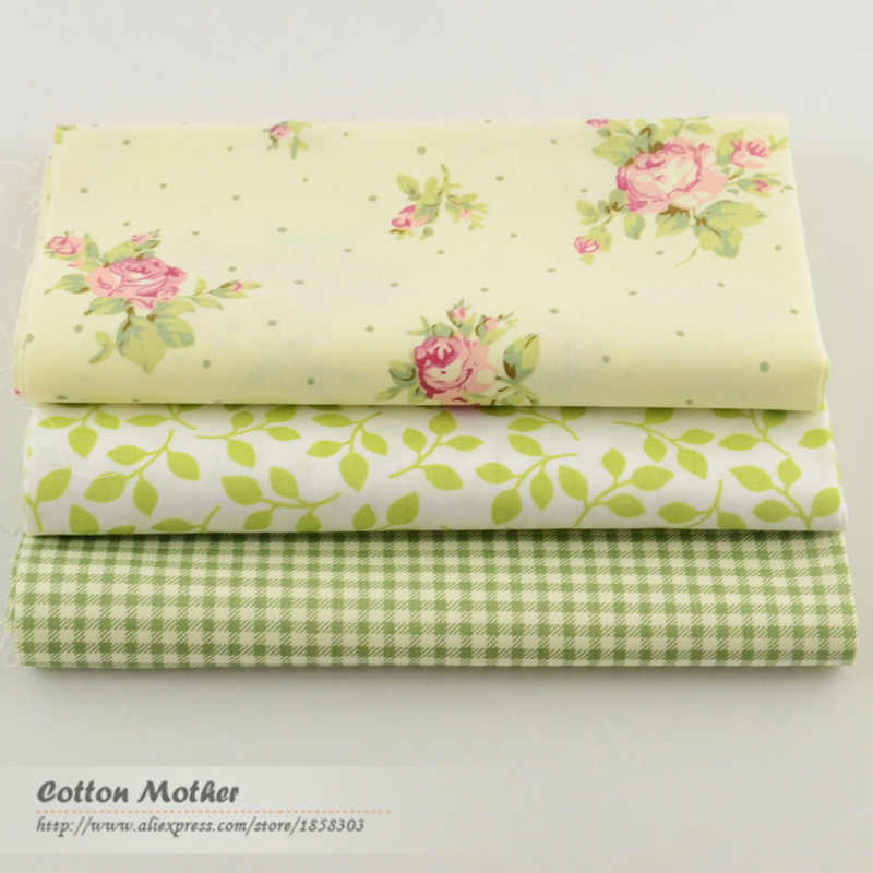 Tela de algodón verde Para costura de 3 piezas de 40cm x 50cm, Material de Tela, Tela blanca de lazo de flores Para Material de mosaico