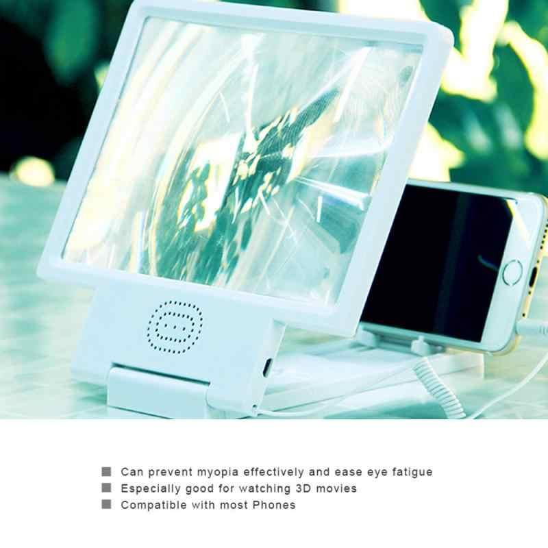 1Pc Ponsel Phone3D Layar Amplifier Kaca Pembesar HD Video Berarti Lipat Membesar HI FI Sound Stand Video Layar Amplifier