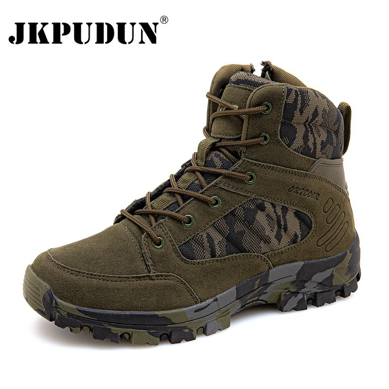 Tactical Military Combat Boots Men Suede Leather US Army Hunting Trekking Camping Mountaineering Winter Work Shoes Boats JKPUDUN