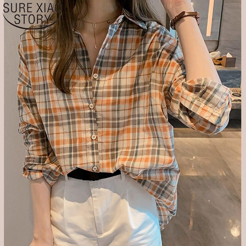 Summer 2019 Loose Plaid Women Blouses Long Sleeve Turn-down Collar Button Fashion Women Tops Vintage Women Clothing 5652 50