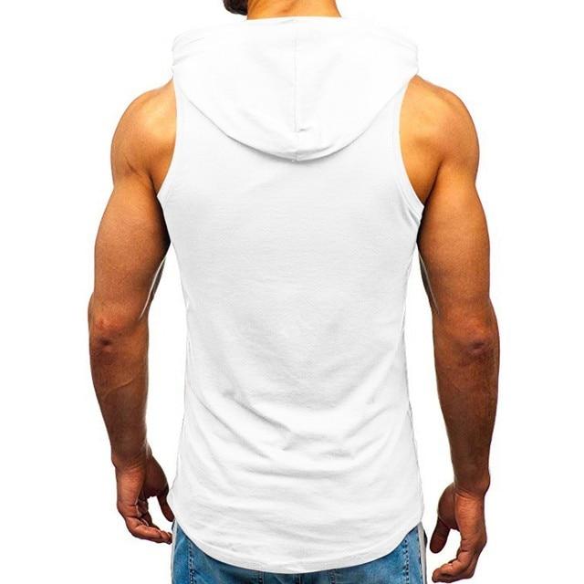 Men Hoodies Tank Top Sleeveless Muscle Gym Sport Slim Vest Bodybuilding Hooded Hip Hop Streetwear Workout Elastic Men Tank Top 5