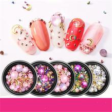 1 баночка смесь Стразы для ногтей розовый/красный/зеленый/светильник