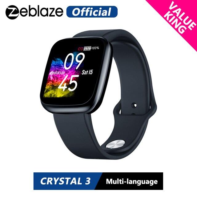 Smart watch zeblaze cristal 3 wr ip67, [valor king] bateria de longa duração, frequência cardíaca, pressão arterial, display colorido ips relógio inteligente, inteligente