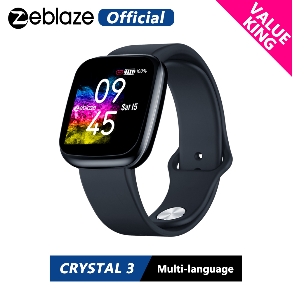 Value King Zeblaze Crystal 3 Smartwatch WR IP67 Heart Rate Blood Pressure Long Battery Life IPS Color Display Smart Watch