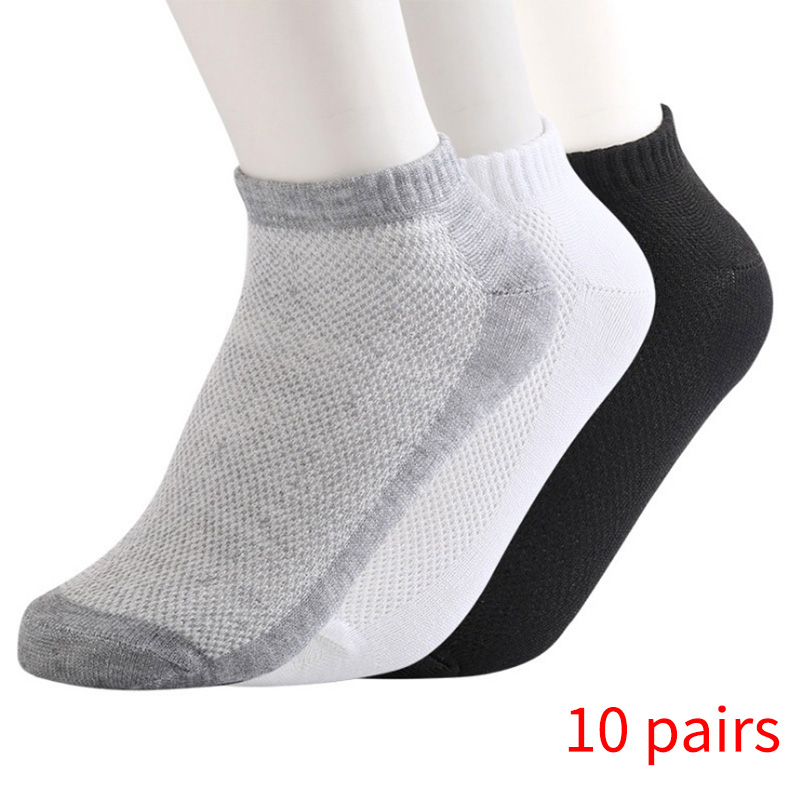 20Pcs=10Pair ECMLN Breathable Men's   Socks   Short Ankle   Socks   Men Solid Mesh High Quality Male Boat   Socks   HOT SALE 2019 DropShip
