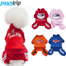 pawstrip 4 Colors Dog Hoodie Coat Sport Clothing Pet Outfits Puppy Jumpsuit Small Clothes For Chihuahua Yorkie Petshop S-XXL