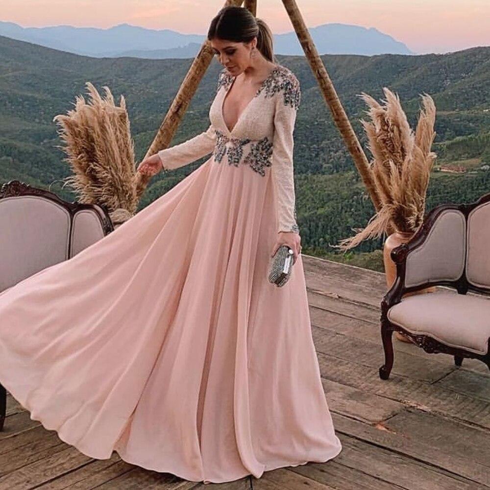 pink   prom     dresses   2020 deep v neck lace appliques beading sequins long sleeve evening   dresses   formal   dresses
