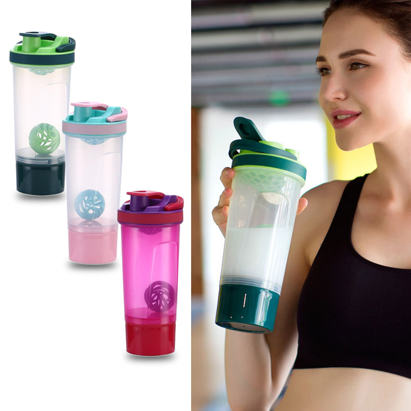Fitness Shaker Bottle Gym Water Bottle Whey Protein Powder Shake ...
