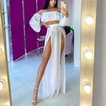 OMKAGI Beach Cover Up Bikini White Purple Rose Solid Bathing Suit 2 Pieces Sexy Mech Dress Tunic Robe Summer Swimsuit Cover Ups