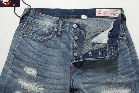 2020 新到着本物 Evisu トレンドファッション男性パンツジーンズストレートプリント洗浄穴最高品質ミッドウエスト男性のズボン