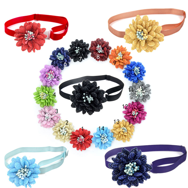 Shiny Chrysanthemum Flower Core Dog Adjustable Collar Pet Dog Cat Bowtie Collar Big Flower Dog Bow Tie Pet Supplies