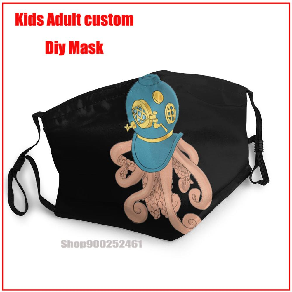Hip Hop Octopus In A Scuba Mask DIY face maks fashion harry mask washable reusable face mask adult face mask designer