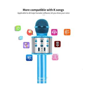 Image 5 - ブルーで4 1 ledワイヤレスbluetoothマイクスピーカープロフェッショナルハンドヘルドカラオケマイク音楽プレーヤー歌レコーダーktvマイク
