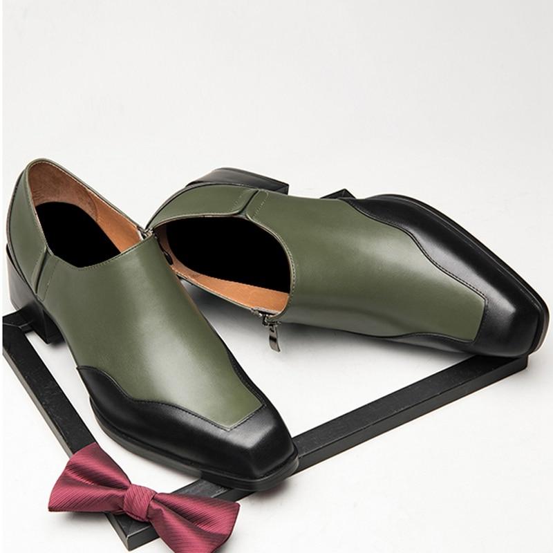 Новое поступление; мужские слипоны с квадратным носком, визуально увеличивающие рост; обувь для банкета; мужские повседневные лоферы из нат... - 4