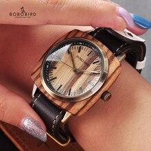 BOBO BIRD reloj personalizado para hombre, resistente al agua, de madera, banda de cuero, esfera cuadrada clásico de reloj de pulsera, OEM