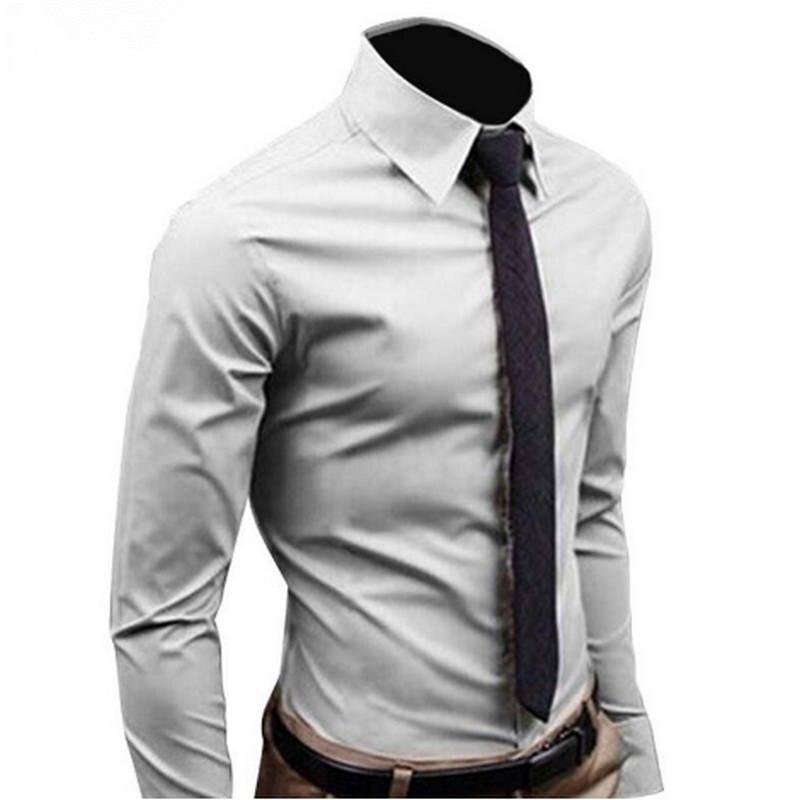 2019мужская рубашка с длинным рукавом, модные мужские повседневные рубашки, хлопок, сплошной цвет, бизнес стиль, приталенная, K112