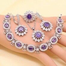 Flower Shape Purple Zircon Crystal White  925 Silver Bridal Jewelry Sets For Women Necklace Pendant Earrings Rings Bracelets