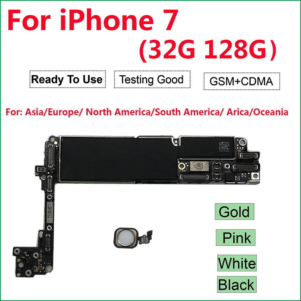 For IPhone 7 Motherboard With/Without Touch Id ,100% Original Unlocked Logic Boards(A1660 CDMA,  A1778) 32GB 128GB