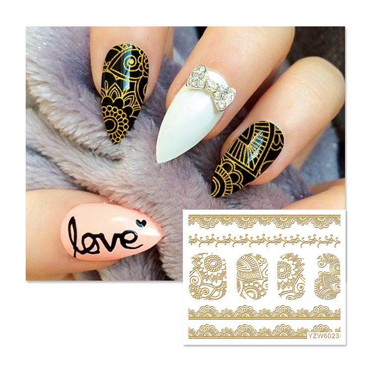 Foreign Trade New Style Manicure Gold Foil Stickers Suspender Strap Glue 3D Nail Decals Stereo Lace Cartoon Nail Sticker
