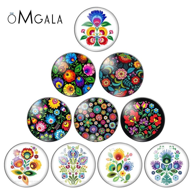 OMGALA Polish Folk Art Patterns Classical Flower Print 12mm/14mm/16mm/18mm/20mm/25mm Glass Cabochon Flat Back Making Findings