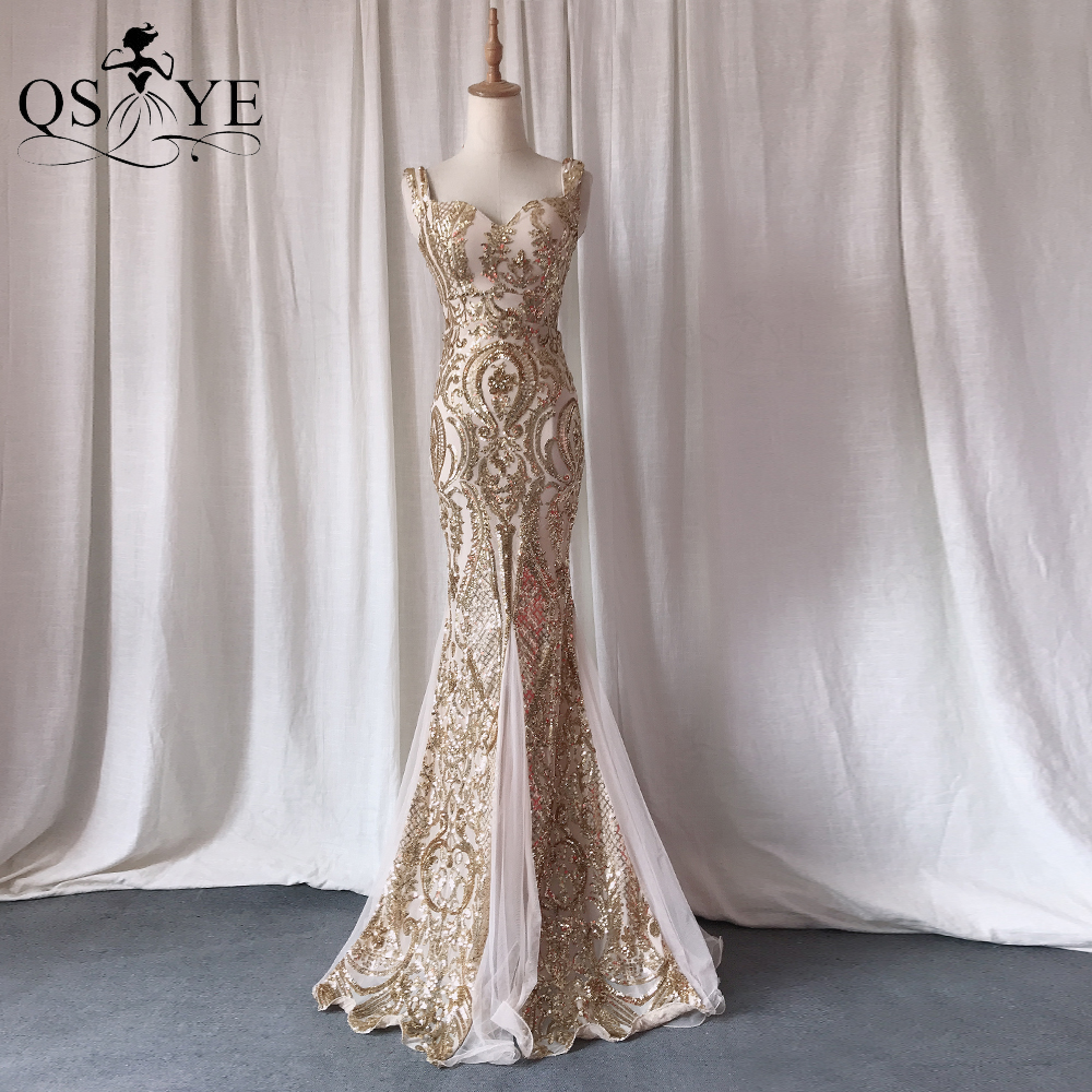 QSYYE Gold Evening Dresses Mermaid Long Prom Gown Glitter Sequin Party Dress...