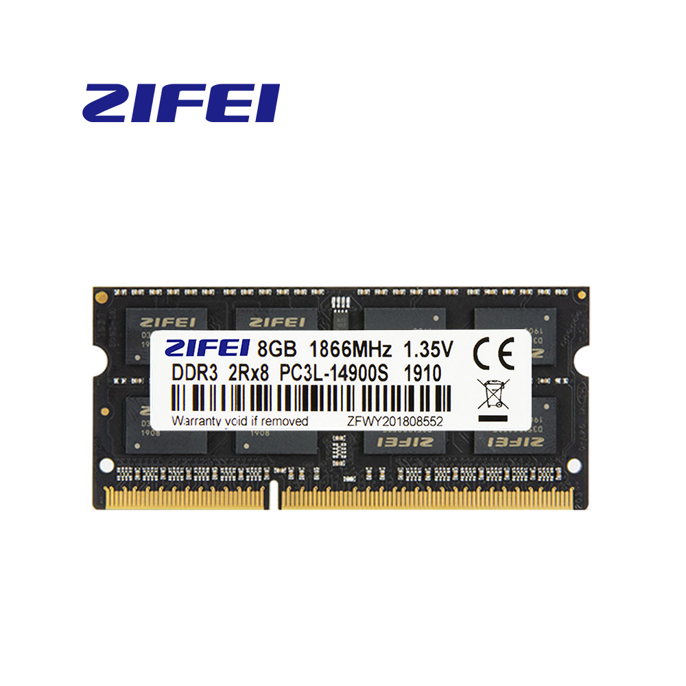 DDR3 RAM 8GB 1866MHZ/1600MHZ/1333MHZ DDR3L 1.35v 204Pin 2R*8 SO-DIMM NON-ECC zifei laptop Memory support Dual channel image