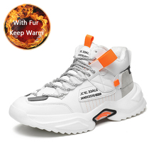 Shoes Chunky Sneakers Black Male Sport Mens Keep-Running QZHSMY for with Fur Snow-Boots