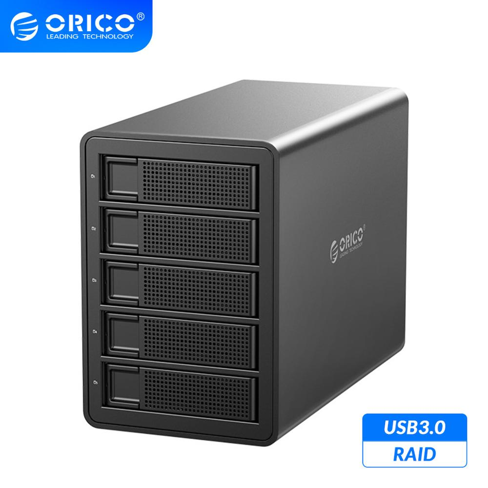 ORICO 35 Series 3.5'' 5 bay HDD Docking Station USB3.0 to SATA With <font><b>RAID</b></font> Aluminum HDD <font><b>Enclosure</b></font> Dual Chip 80TB Capacity HDD Case image