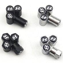 2021 4PCS Car Accessories Metal Wheel Tire Valve Caps for Hyundai Tucson I30 Creta Ix35 I40 IX20 Accessories Car Styling
