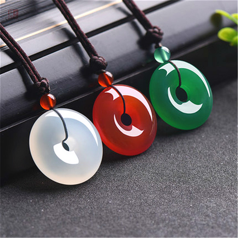 Natural Green Agate Jade Safety Buckle Pendnat Chinese Necklace Carved Charm Jewellery Fashion Amulet for Men Women Lucky Gifts