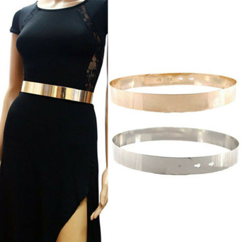 Brand New Women Adjustable Fashion Full Metal Waist Belt Wide Bling Gold Silver Waistband Vintage Lady Simple Belts For Dress
