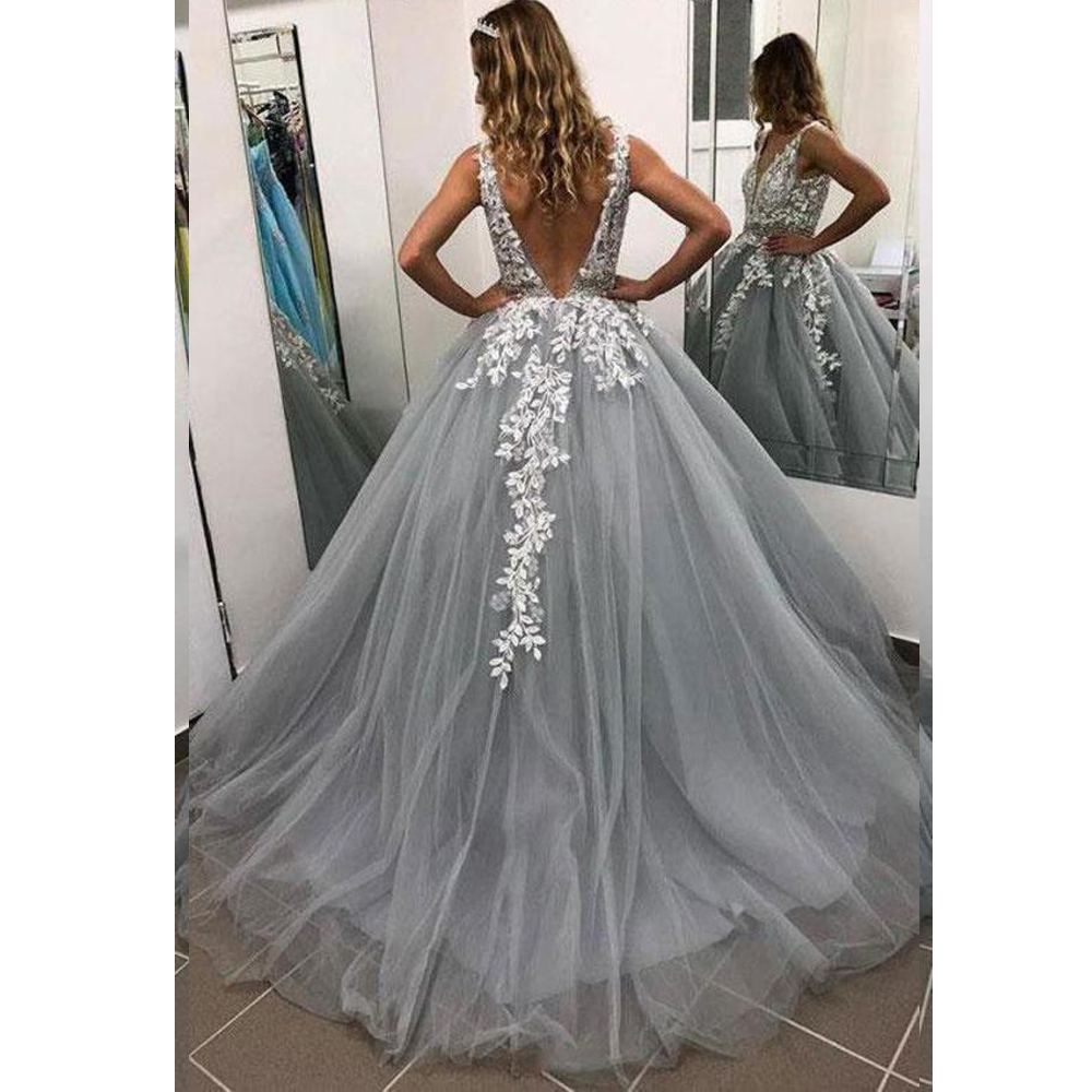 Lace V-neck A Line Prom Dresses 2020 Sexy side slit Sweet 16 Dress Long Formal Evening Dress formal Gown robe de soiree