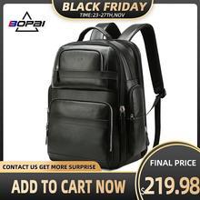 Рюкзак мужской из натуральной кожи с USB зарядкой и защитой от кражи