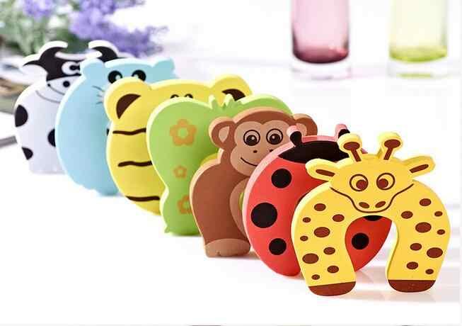 1 Uds. Bonito dibujo de hoja pies de Caracol Tigre ratón mariposa mono goma cuña tapón de puerta soporte con Protector de seguridad para bebés