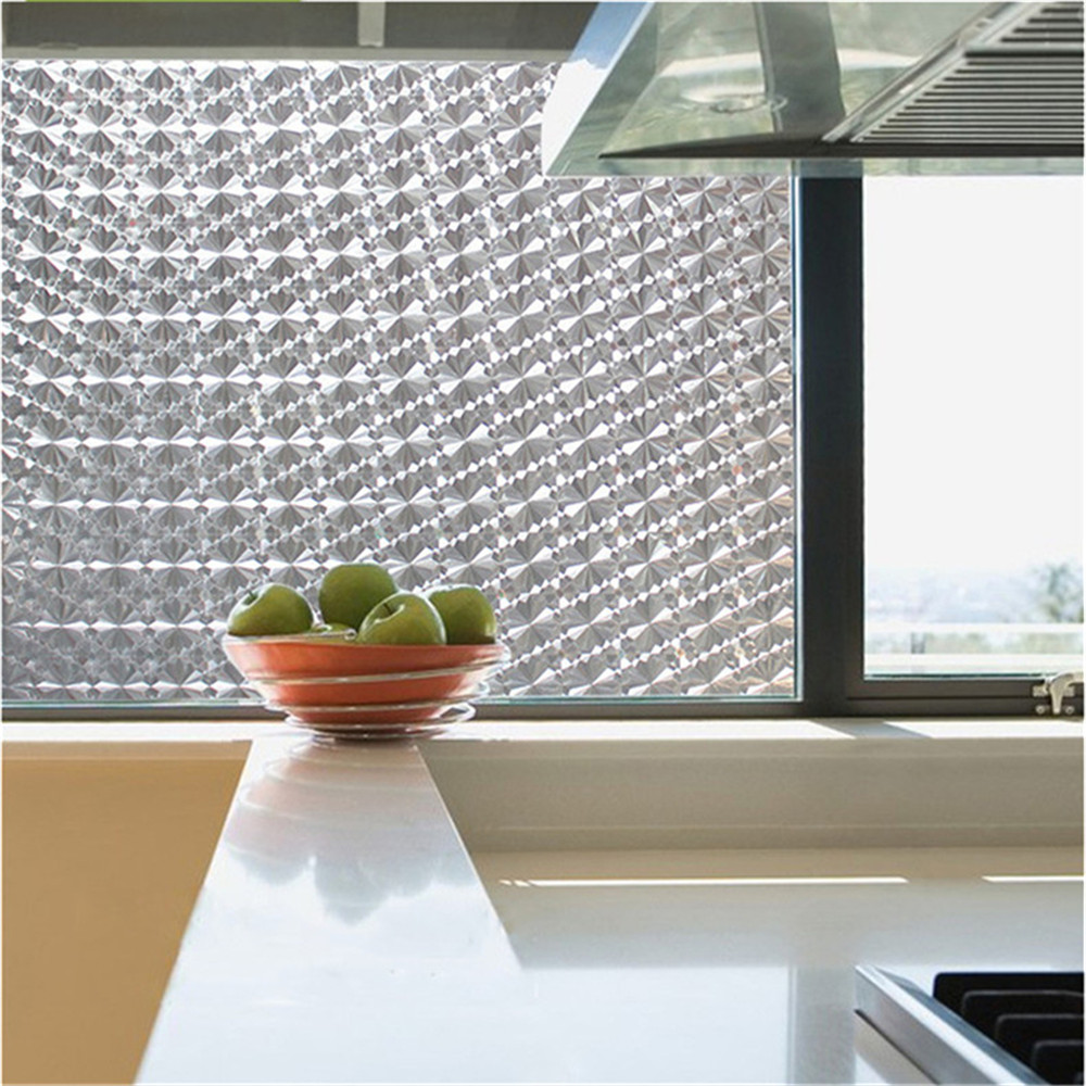 Privacy Frosted Window Film No-Glue Self Adhesive 3D Static Decorative Glass Stickers for Home Kitchen Office Anti-UV 3