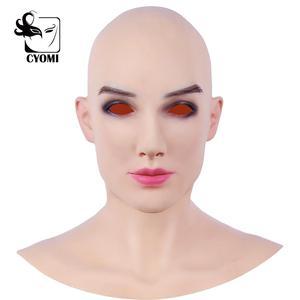 Image 2 - CYOMI miękkiego silikonu realistyczne kobiece głowy Beatrice biedronka styl Crossdresser maska Handmade makijaż Transgender maska 4G