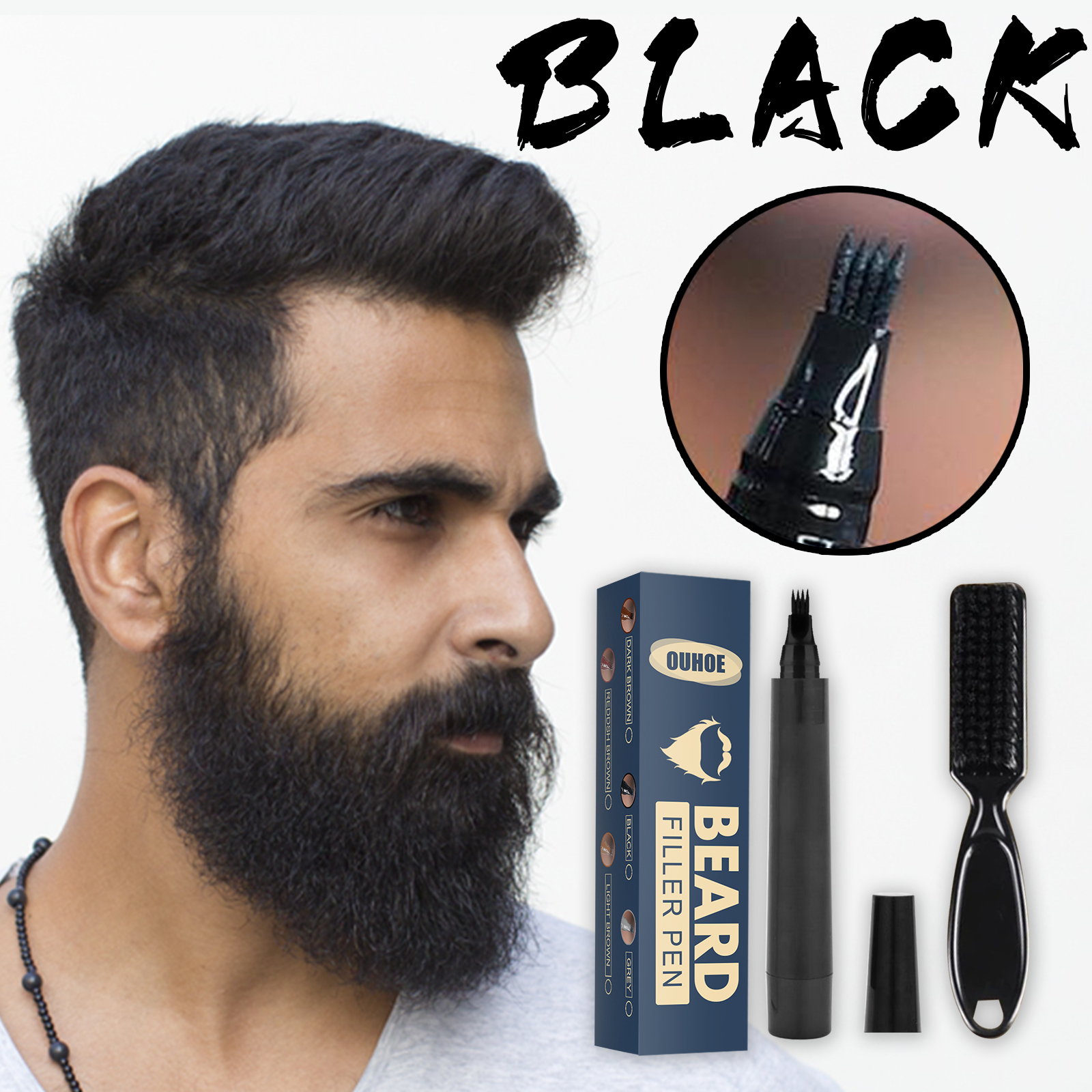 Beard Pencil Filler Beard Filling Pen Kit Barber Pencil With Brush Salon Facial Hair Styling Eyebrow