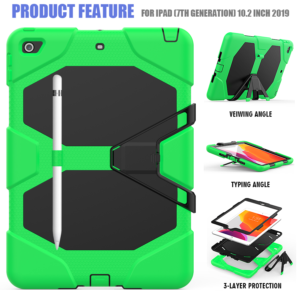 Case For iPad Kickstand Duty Rugged Heavy Armor Case Kids PC Silicone 10.2 Shockproof