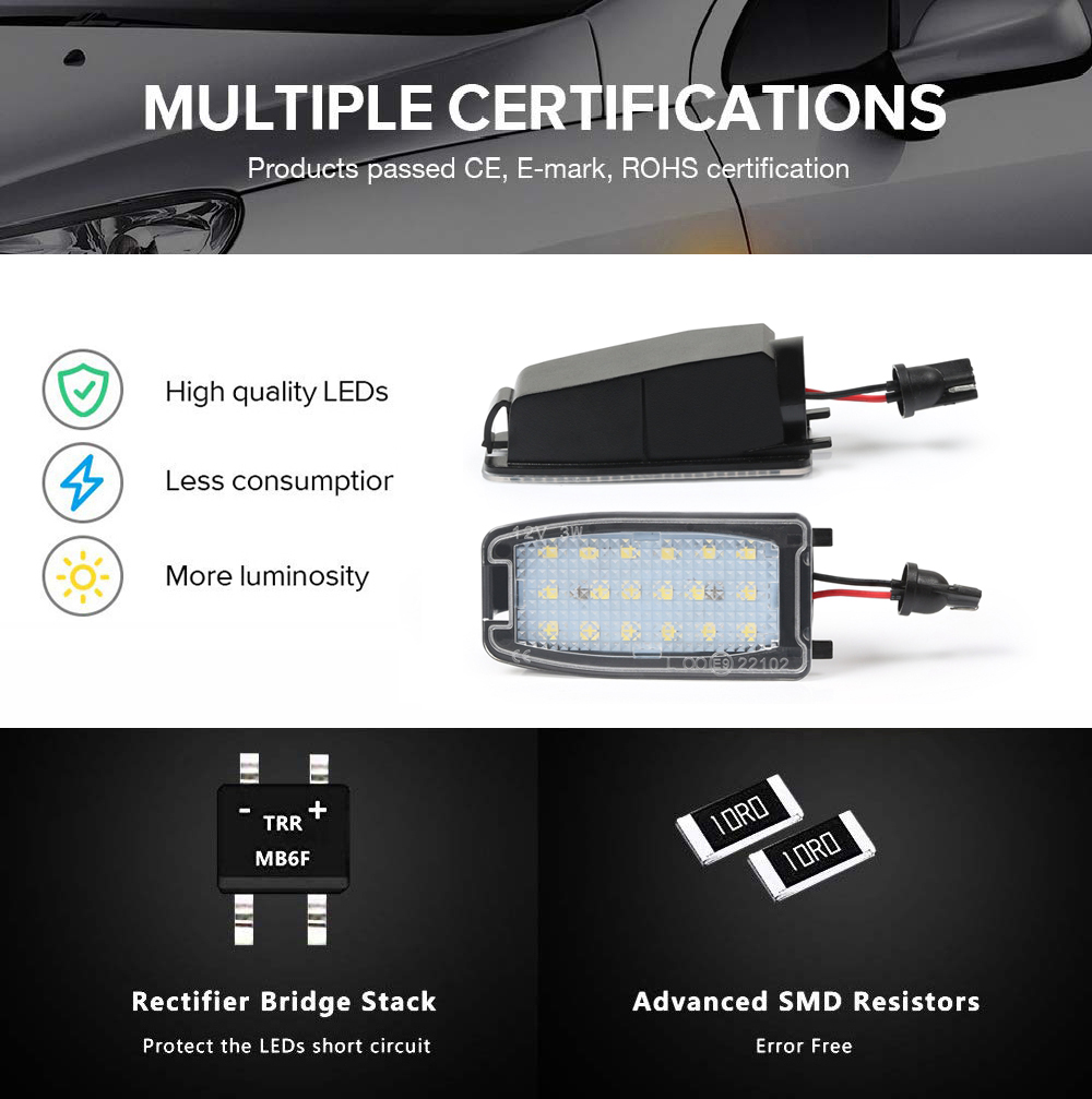 2pcs led side mirror puddle light under rearview ground lamps for volvo s60 s80 v70 xc70 xc90