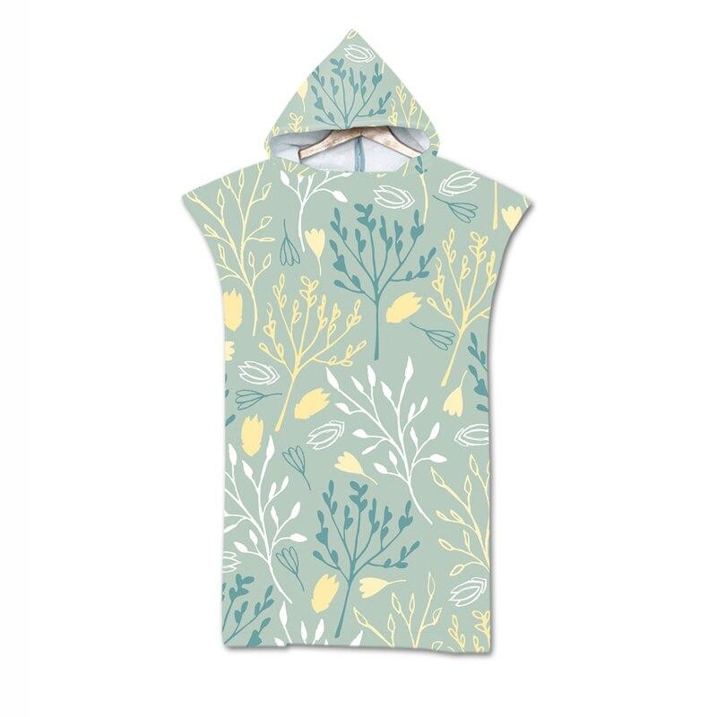 Apprehensive New Leaves Geometry Towel Adult Microfiber Dressing Robe Hooded Bath Towel Swimming Surfing Beachwear