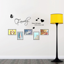 Family Where Life Begins Love Never Ends Quotes Wall Stickers Living Room Bedroom Decorations Home Characters Vinyl Mural Decals