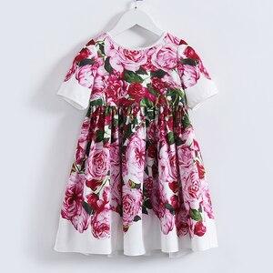 Image 2 - Beenira çocuk giysileri 2020 yeni yaz tarzı çocuk kısa kollu moda çiçek prenses elbiseler kızlar için tasarım giyim elbise