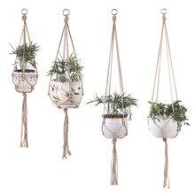 Винтажный Декор Подвеска для растений из макраме корзина цветочный горшок держатель для растений макраме висячая завязанная подъемная веревка садовый Декор для дома и сада