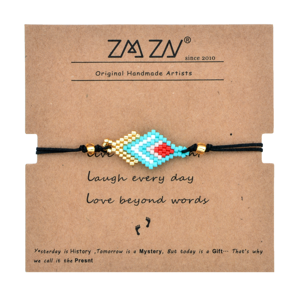 Rhombic Shape Bohemina Diy Miyuki Beads Bracelet Friendship Gifts Card 1523cm Adjustable